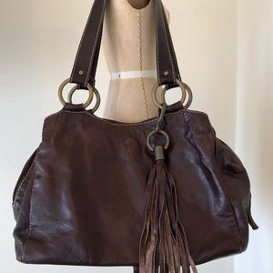 Handbags - Brown Leather 'Cotnele' Purse with Tassel